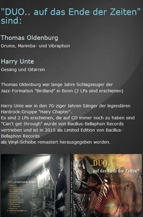 Harry Unte - Das Duo - auf das Ende der Zeiten... Mobilansicht