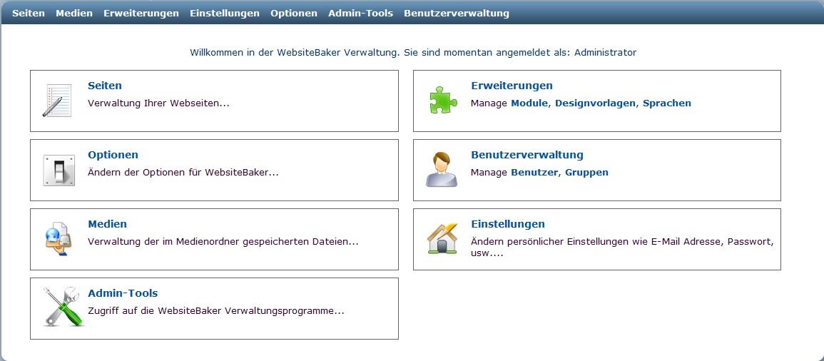 WebsiteBaker-Verwaltungsbereich